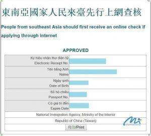 visa đài loan được chấp nhận